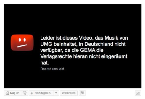 German YouTube copyright notice, mentioning GEMA