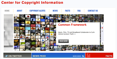 Screenshot of the Center for Copyright Information Homepage