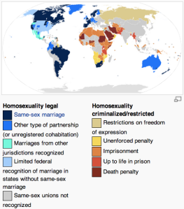 Map taken from http://en.wikipedia.org/wiki/LGBT_rights_by_country_or_territory