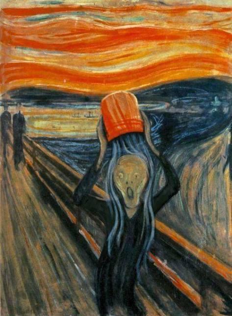 "Ice-Bucket-Challenge version of Edvard Munch's ""Scream"", author unknown (via)."