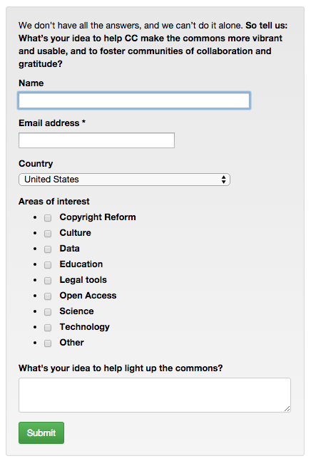 Screenshot of Creative Commons strategy survey